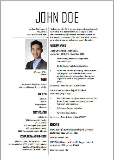 CV Template Word!   CV's en Motivatiebrieven voor in Word